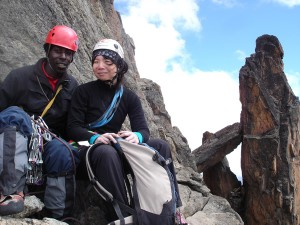 The author and her guide pressing for the summit of Mt. Kenya